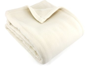 Couverture polaire 220x240 cm 100% Polyester 350 g/m2 TEDDY Blanc Naturel