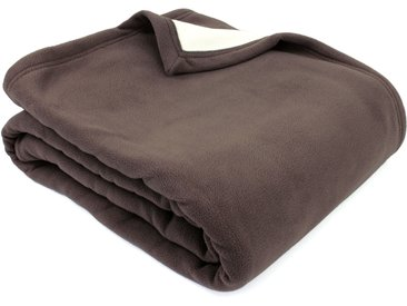 Couverture polaire luxe 240x260 cm 100% polyester 430 g/m2 NARVIK Marron Taupe/Naturel