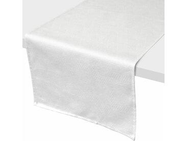Chemin de table 45x150 cm Jacquard 100% coton CUBE blanc