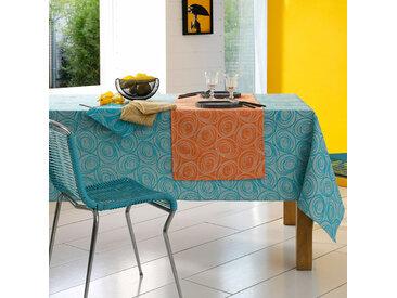 Nappe carrée 175x175 cm Jacquard 100% coton SPIRALE bleu turquoise