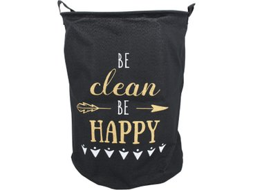Panier à linge 63L noir Be clean Be happy