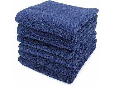 Lot de 6 serviettes de toilette 50x90 cm ALPHA bleu Marine