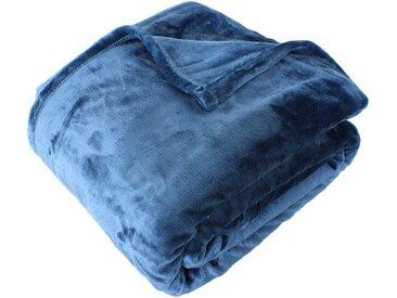 Couverture polaire microvelours 180x240 cm VELVET Bleu de prusse 100% Polyester 320 g/m2 Traitement non-feu 12952