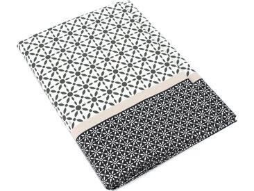 Drap plat 240x310 cm satin de coton WESLEY gris noir