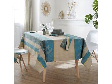 Lot de 3 serviettes de table 45x45 cm PALMIER bleu lagon Jacquard 100% coton sans enduction