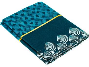 Drap plat 180x290 cm 100% coton TALISMAN bleu Paon