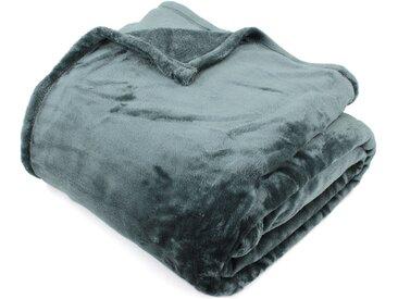 Couverture polaire 180x240 cm Microfibre 100% Polyester 320 g/m2 VELVET Gris Acier
