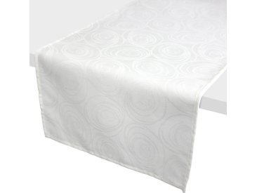 Chemin de table 45x150 cm Jacquard 100% coton SPIRALE blanc