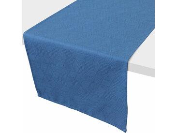 Chemin de table 45x150 cm Jacquard 100% coton CUBE bleu Cobalt