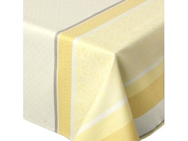 Nappe rectangle 150x300 cm Jacquard 100% coton + enduction acrylique EDEN SOLEIL Jaune