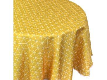 Nappe ronde 180 cm imprimée 100% polyester PACO géométrique jaune Maïs
