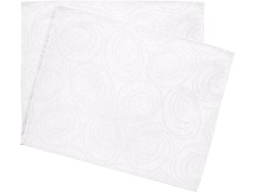 Lot de 2 sets de table 35x45 cm Jacquard 100% coton SPIRALE blanc