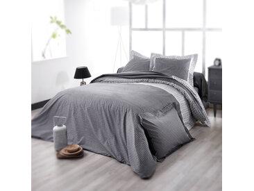 Parure de lit 200x200 cm satin de coton WESLEY gris noir 3 pièces