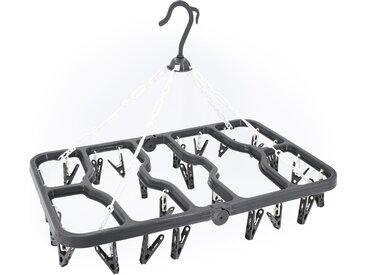 Séchoir à linge pliable à suspendre avec 24 pinces en plastique gris et blanc