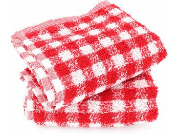 Lot de 2 torchons de cuisine éponge 50x50 cm SQUARES VICHY rouge
