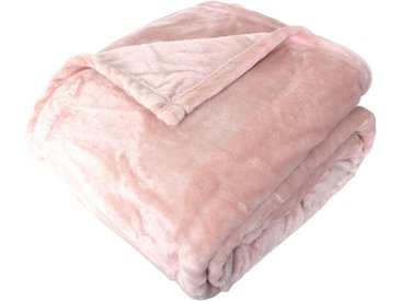 Couverture polaire microvelours 180x240 cm VELVET Rose poudré 100% Polyester 320 g/m2 Traitement non-feu 12952