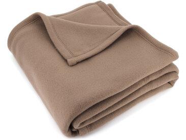 Couverture polaire 220x240 cm Isba marron Taupe 100% Polyester 320 g/m2 traité non-feu