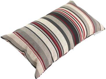 Housse de coussin 30x50 cm TABIANO Lignes rouges et grises Polycoton