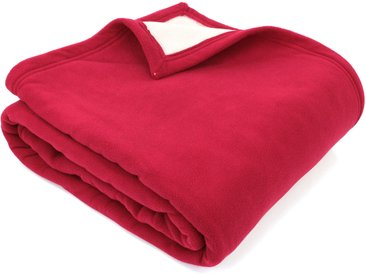 Couverture polaire luxe 180x220 cm 100% polyester 430 g/m2 NARVIK Rouge Framboise