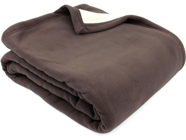 Couverture polaire luxe 220x240 cm 100% polyester 430 g/m2 NARVIK Marron Taupe/Naturel