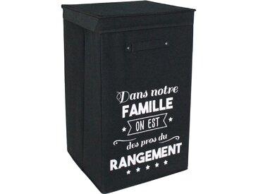 Panier à linge cartonnée avec couvercle 70L noir les Pros du rangement