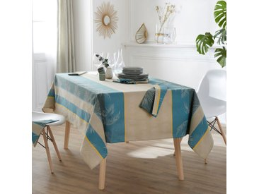 Nappe carrée 150x150 cm PALMIER bleu lagon Jacquard 100% coton + enduction acrylique