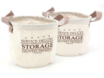 Lot de 2 paniers de rangement 3L beige avec anses Storage