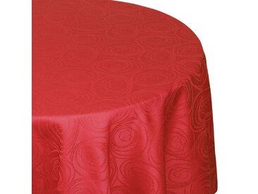 Nappe ronde 180 cm Jacquard 100% coton SPIRALE rouge