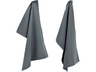 Lot de 2 torchons de cuisine 50x70 cm toile PURE KITCHEN TEA TOWEL Gris