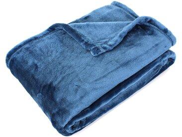Plaid polaire microvelours 150x200 cm VELVET Bleu de prusse Bleu 100% Polyester 320 g/m2 Traitement non-feu 12952