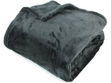 Couverture polaire 180x240 cm Microfibre 100% Polyester 320 g/m2 VELVET Noir