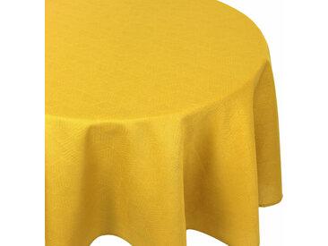 Nappe ovale 180x240 cm Jacquard 100% coton CUBE jaune Curcuma