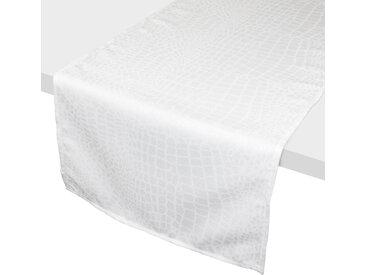 Chemin de table 45x150 cm Jacquard 100% polyester LOUNGE blanc