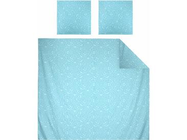 Parure de lit 240x220 cm Satin de coton PANTHEON Bleu clair