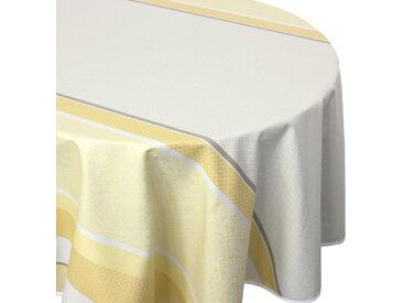 Nappe ovale 170x240 cm Jacquard 100% coton + enduction acrylique EDEN SOLEIL Jaune