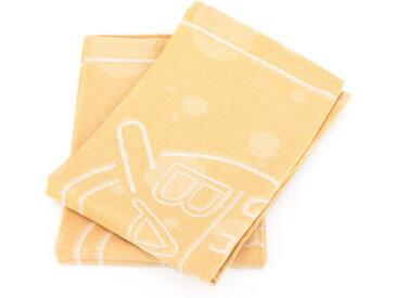 Lot de 2 torchons de cuisine toile 50x70 cm SHOP jaune