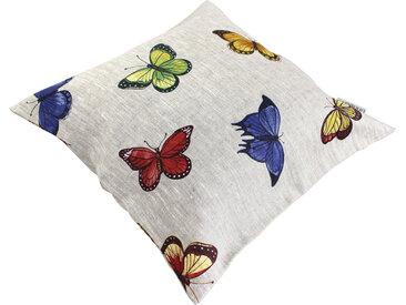 Housse de coussin 45x45 cm GALLICO Papillons bleus jaunes et rouges 100% Lin