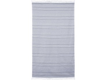 Drap de plage Fouta 100x180 cm 100% coton 290 g/m² VULCANO Rayures Bleu