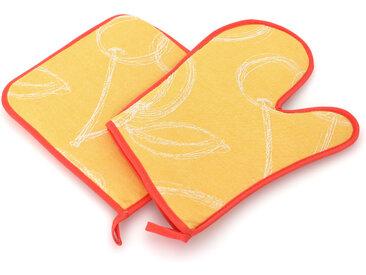 Set de cuisine 2 pièces : gant de cuisine et manique LINE Orange