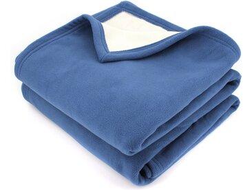 Couverture polaire luxe 220x240 cm 100% polyester 430 g/m2 NARVIK Bleu Pétrole/Naturel