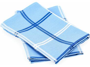 Lot de 2 torchons de cuisine toile 50x70 cm SQUARES bleu