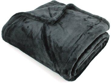 Plaid polaire 150x200 cm microvelours 100% Polyester 320 g/m2 VELVET Noir