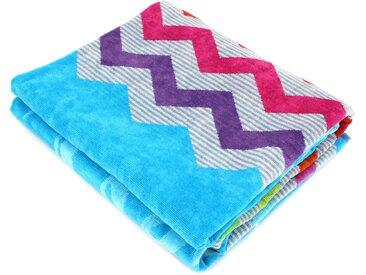 Drap de plage 100x180 cm SANDY motif zigzag multicolore