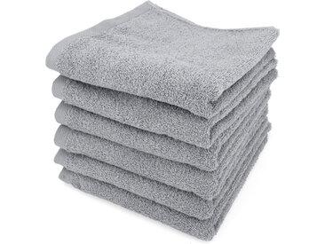 Lot de 6 serviettes de toilette 50x90 cm ALPHA gris Argent