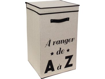 Panier à linge cartonnée avec couvercle 70L beige A ranger de A à Z