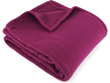 Couverture polaire 180x220 cm 100% Polyester 350 g/m2 TEDDY Violet Prune