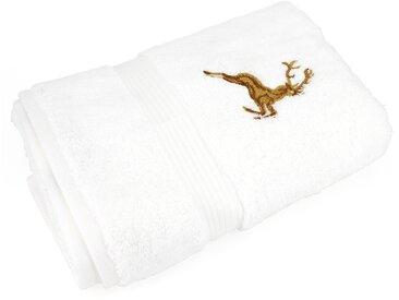 Serviette de toilette 50x100 cm HIRSH Blanc/Or 600 g/m2