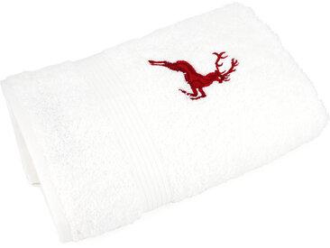 Serviette invité 30x50 cm HIRSH Blanc/Rouge 600 g/m2