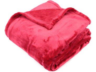 Plaid polaire 130x150 cm microvelours 100% Polyester 320 g/m2 VELVET Rouge