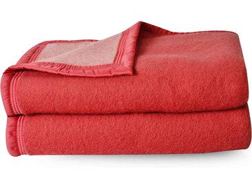 Couverture pure laine vierge Woolmark 500g/m² VOLTA 220x240 cm Rouge Bois de rose
